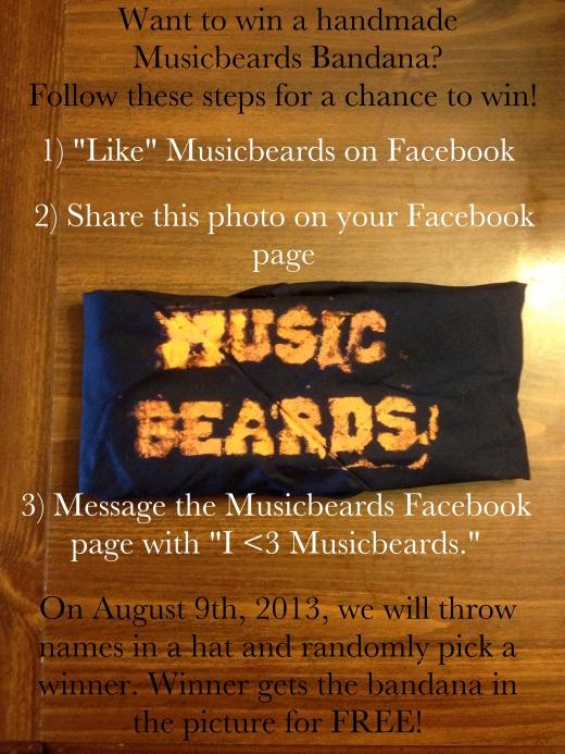 Win a FREE, handmade, Musicbeards bandana!